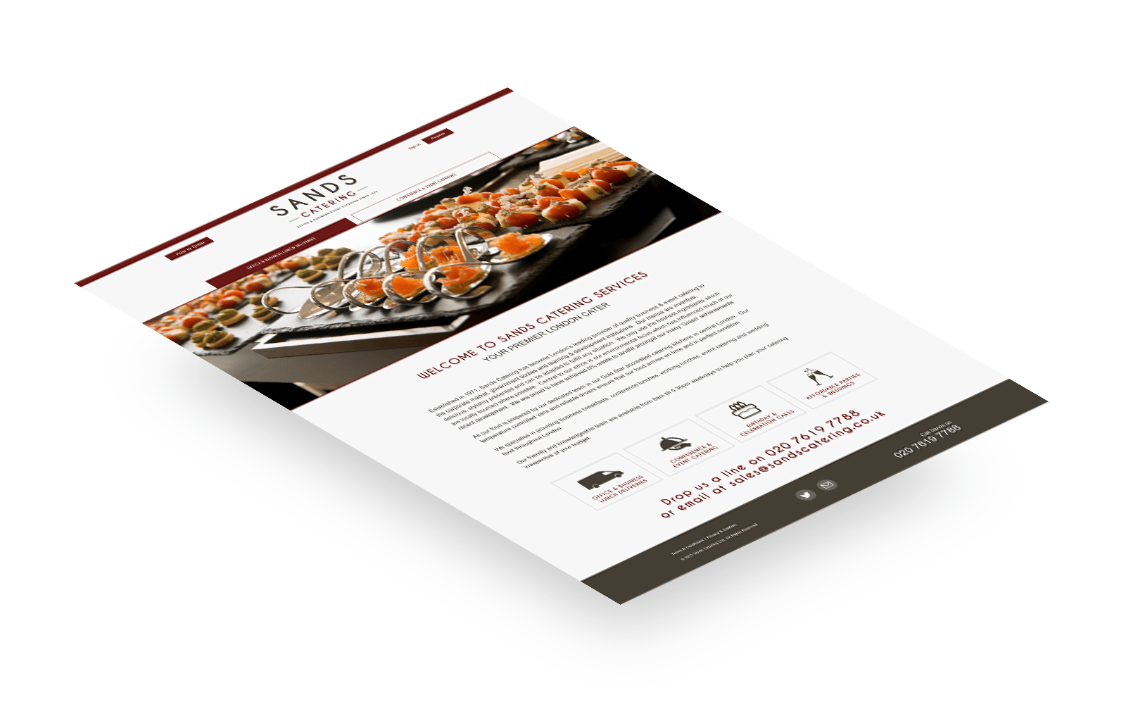 Sands Catering responsive website