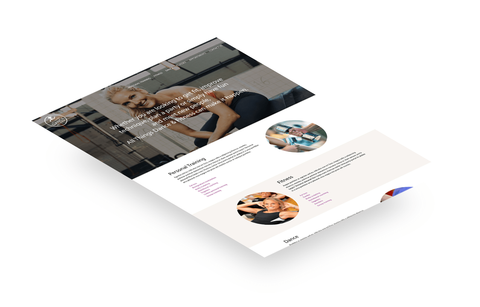 All Things Dance & Fitness responsive website